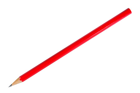 Red pencil on white background Stock Photo