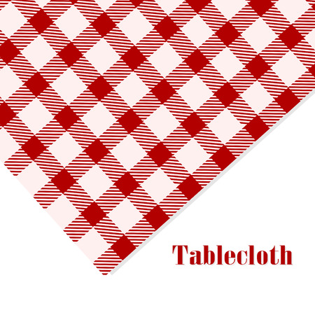Red And White Tablecloth On White Background Photo