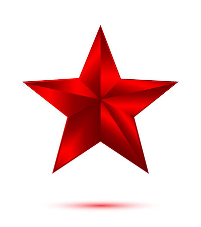 3D red star on white background photo