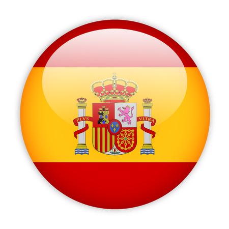 spain: Spain flag button on white