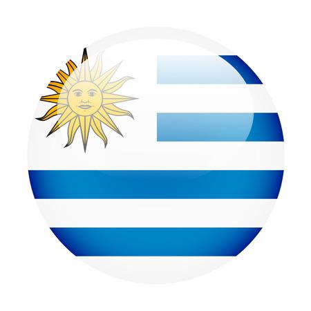 bandera de uruguay: Bot�n del indicador de Uruguay en blanco Foto de archivo