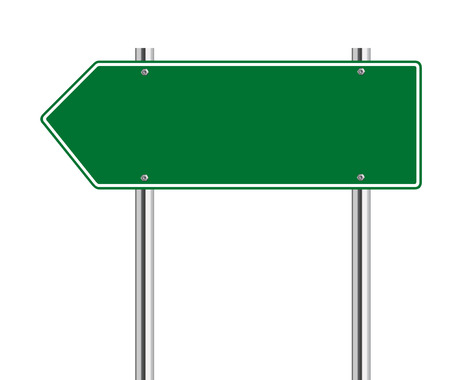 galvanised: Green arrow to the left road sign on white