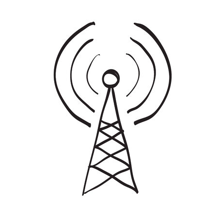 Hand drawn antenna on white background Vector