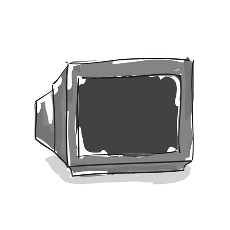 crt: Hand drawn crt tv on white background Illustration