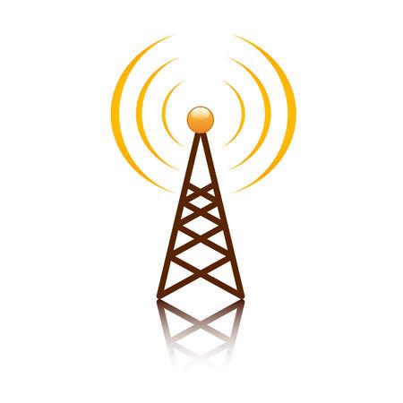 telephone mast: Orange antenna mast sign on white