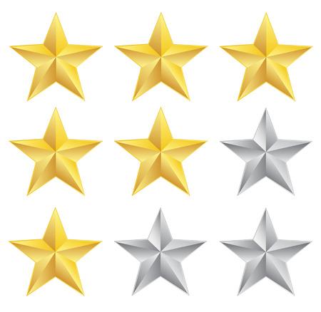 Rating stars on white background
