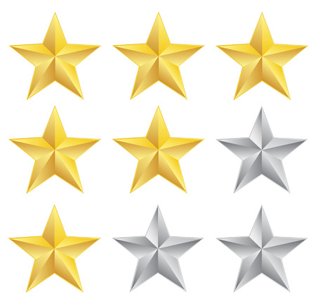 Rating stars on white background