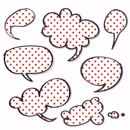 polka dotted: Polca punteada de color rojo en la palabra discurso de dibujos animados Vectores