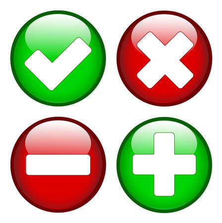 녹색과 빨간색 원에 십자가 마이너스 더하기 기호를 틱 일러스트