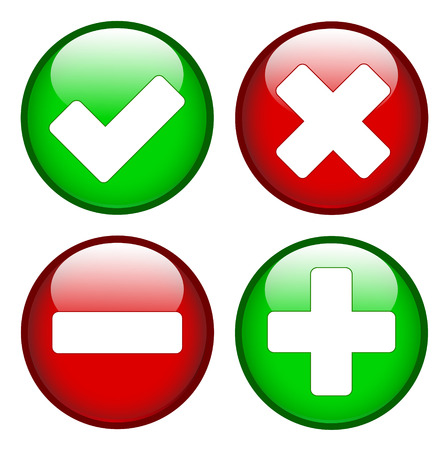 deny: Tick cross minus plus signs on green and red circles