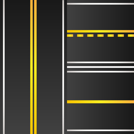 Set of road with yellow marking background Illustration