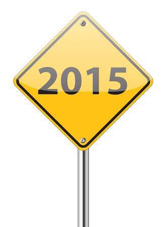 2015 on yellow traffic sign on white photo