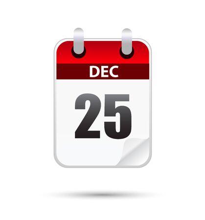 25: 25 December calender on white