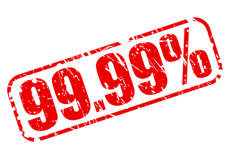 99: 99.99 percent red stamp text on white Stock Photo