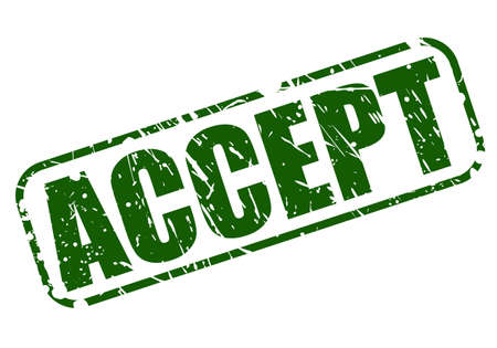 Accept green stamp text on white