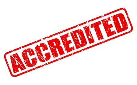 accredited: Accredited red stamp text on white Stock Photo