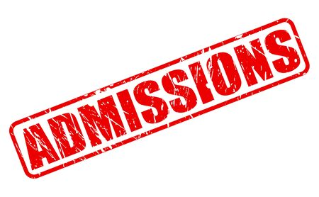 admissions: Admissions red stamp text on white Stock Photo