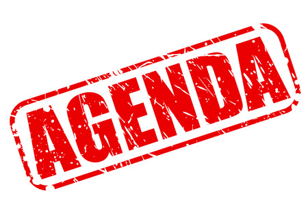 Agenda red stamp text on white Stock Photo