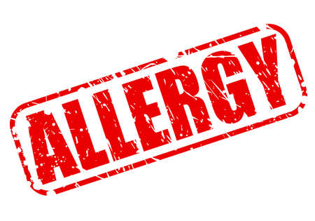 medicated: Allergy red stamp text on white