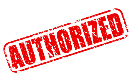 authorized: Authorized red stamp text on white