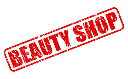 beauty shop: Beauty shop red stamp text on white