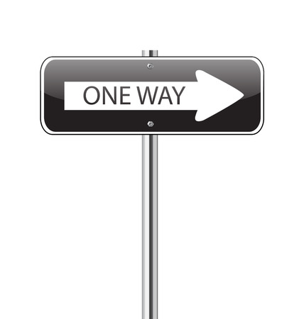 One way black traffic sign on white