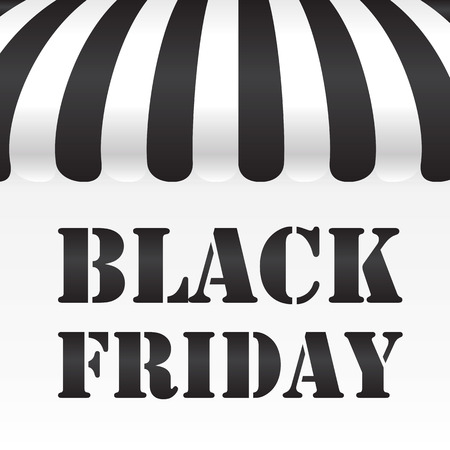 Black Friday text on black and white awning background photo
