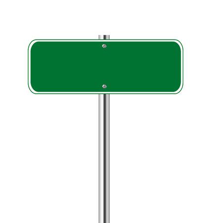 Blank green traffic sign on white