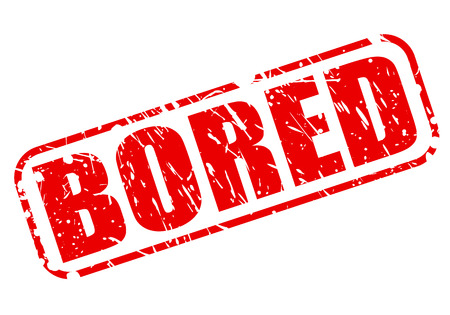 dullness: Bored red stamp text on white Stock Photo