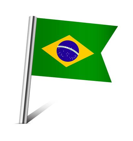 Brazil flag pin on white photo