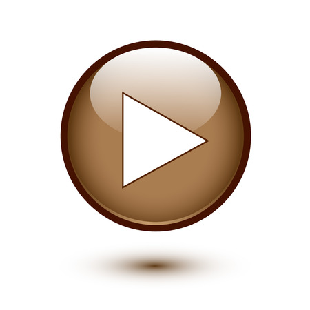 playback: Brown glossy play button on white