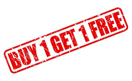 Buy 1 get 1 free red stamp text on white photo