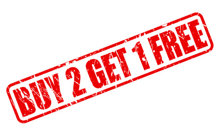 selling off: Buy 2 get 1 free red stamp text on white