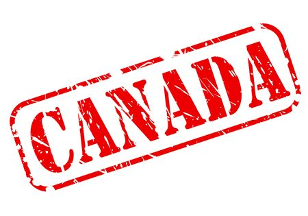 canada stamp: CANADA red stamp text on white background Stock Photo