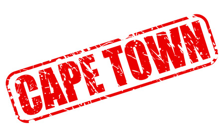 Cape town red stamp text on white photo