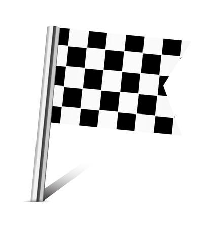 Checkered Racing flag pin on white photo