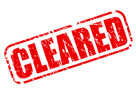 cleared: Cleared red stamp text on white Stock Photo