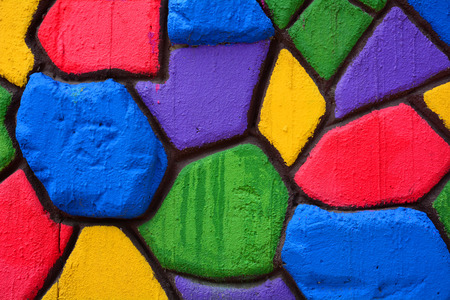 Colorful stone block wall background photo