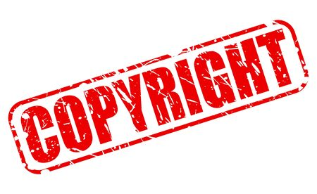 plagiarism: Copyright red stamp text on white