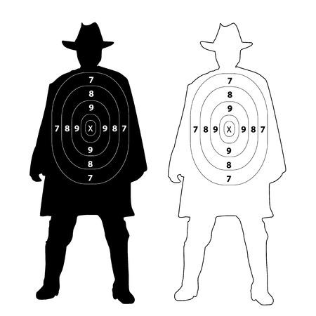 bullethole: Cowboy gun target on white background