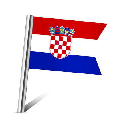 bandera croacia: Croacia pin de la bandera en blanco