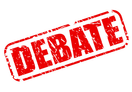 deliberation: Debate red stamp text on white