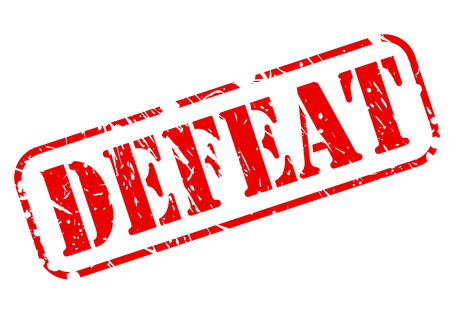 DEFEAT red stamp text on white background