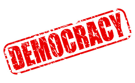voted: Democracy red stamp text on white Stock Photo