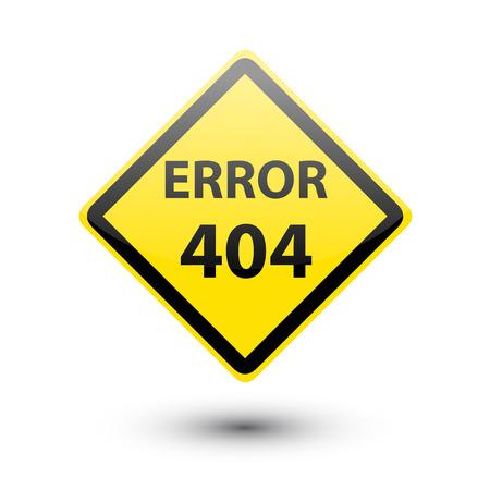 file not found: ERROR 404 yellow sign on white Stock Photo