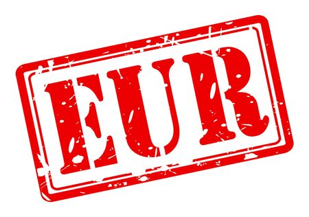 marked boxes: Eur red stamp text on white Stock Photo