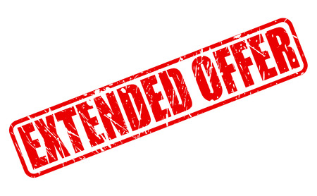 Extended offer red stamp text on white Stock Photo