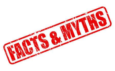 facts: Facts and Myths red stamp text on white Stock Photo