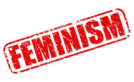 outrage: Feminism red stamp text on white