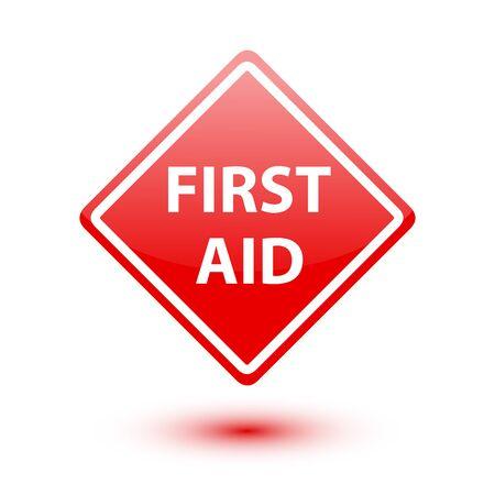 rood teken: Eerste hulp rood teken op witte achtergrond Stockfoto